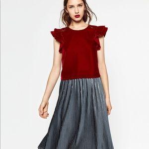 Zara Red velvet top ruffle sleeves top S